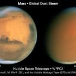 Mars mit und ohne Sandsturm