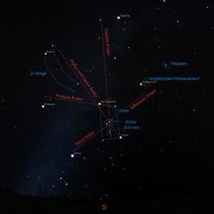 Winterhimmel: Blick in Richtung Süden mit Aufsuchkarte